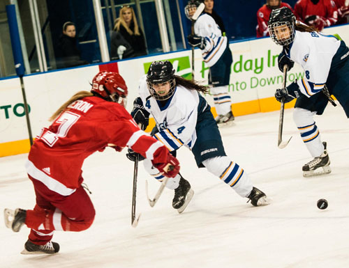 Ryerson's Nadine Paul fights for a loose puck with York's Erin Cameron during a heated affair between cross-town rivals on Saturday.