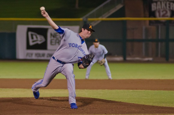 Blue Jays' Deck McGuire delivers a pitch in his first start since joining the Salt River Rafters at Arizona Fall League.