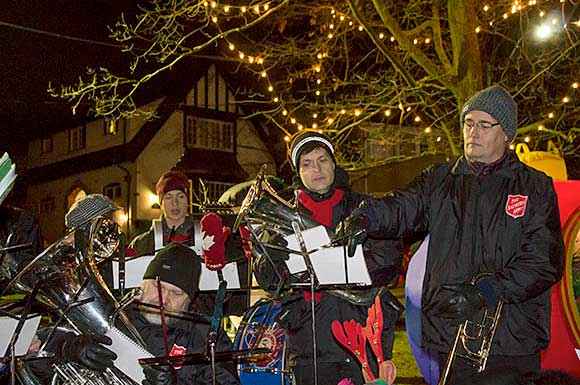 The Salvation Army band provides the soundtrack on Dec. 11 for the 24th annual Caroling in the Park. Event organizer David Breech said anywhere from $1,500 to $2,000 was collected for the Salvation Army at the event, which took place in Glen Stewart Park in the Beach.