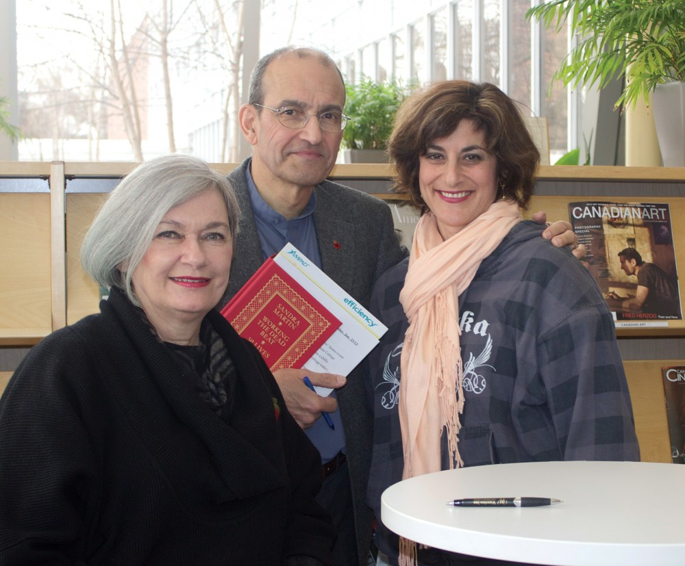 Author and guest lecturer Sandra Martin with college hosts Ted Barris and Ellin Bessner.