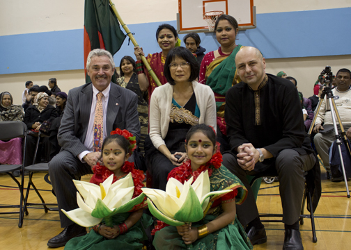 Matthew Kellway, Olivia Chow and Michael Prue join the celebration of International Mother Language Day on Wednesday.