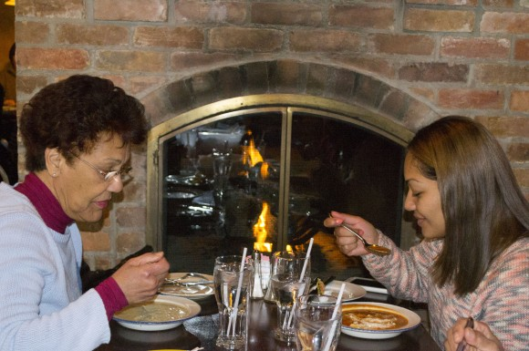 Danyce Luces and Marva Luces enjoy Winterlicious at Joey Bravo's, one of the only two restaurants entered in Winterlicious from Scarborough this year.