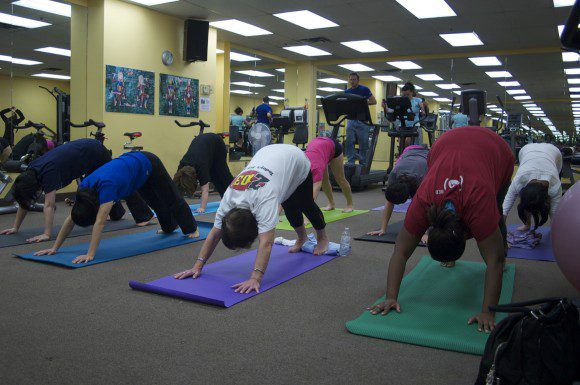 Employees at The Scarborough Hospital attend a weekly yoga class. Yoga is one of the six fitness classes held each week.