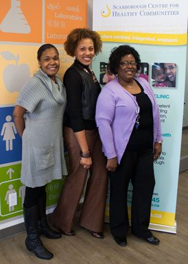From the left: Sheena Howe, supportive housing manager, Gail Strachan, manager, communications and resource development, Dorothee Chopamba, social worker. The staff at the Scarborough Centre for Healthy Communities are friendly and helpful.