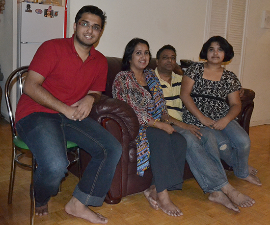 Family members and fellow college students (l-r) son Muhiminul Aziz, parents Taslima Sultana and Mahbubul Aziz, and daughter Lia Aziz.