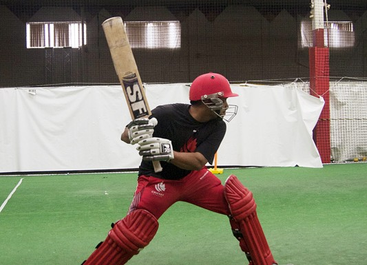 Cricket practice for Canada's national team takes place in modest quarters.