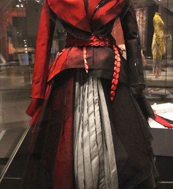 The Red Christian Dior dress now on display at the Royal Ontario Museum in Toronto