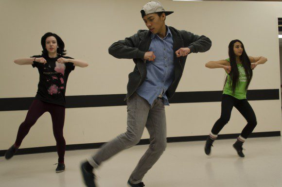 Members of Sc Swagg practise at the UTSC campus for the BYOB competition. From left are Megan MacDonald, 20, Patrick Pil, 19, and Faye Hue, 19.