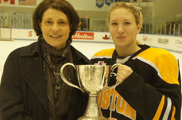 Boston head coach Digit Murphy and forward Katka Mrazova pose with the Clarkson Cup.