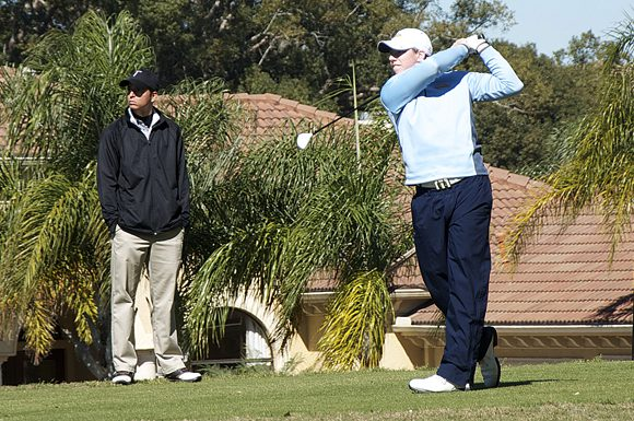 Marquette University's Nick Nelson tees off at the University of South Florida Invitational on Monday.