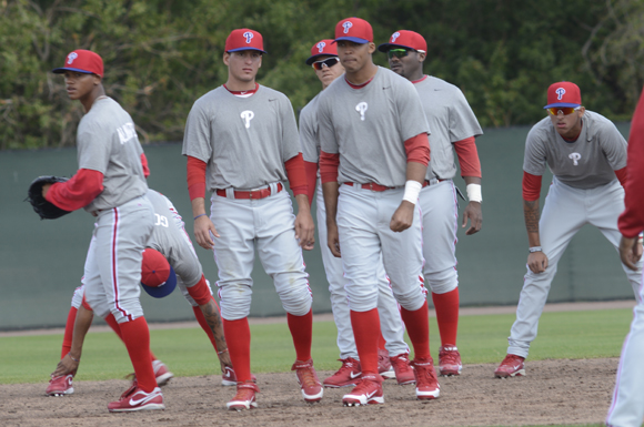Phillies prospects take the field during practice at the Paul Owens Training Facility in Clearwater, Florida.