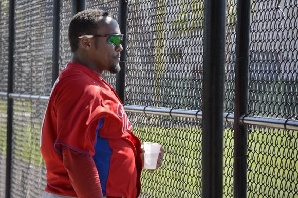 Larry Greene takes time out during batting practice at the Philadelphia Phillies' training centre in Clearwater, Florida Wednesday.