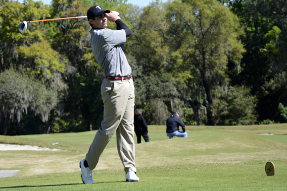Tolver Dozier tees off for Troy University at the University of South Florida Invitational on Monday.