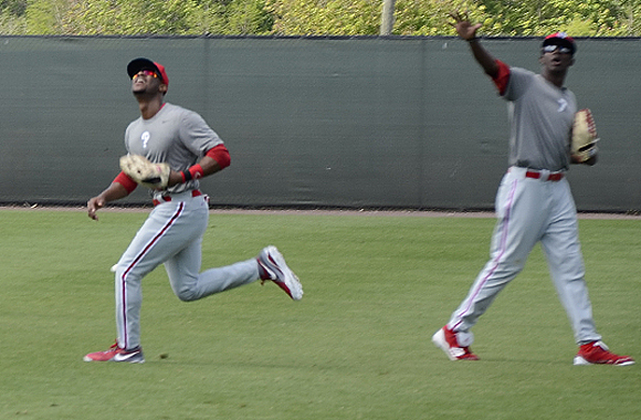Brooklyn native Anthony Hewitt (L) faces an uphill battle to crack the Phillies roster.