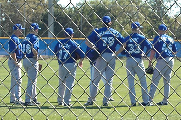 Blue Jays pitching prospect Tim Brechbuehler (number 79) towers above his teammates at the Bobby Mattick Training Facility at Dunedin, Florida, Monday.