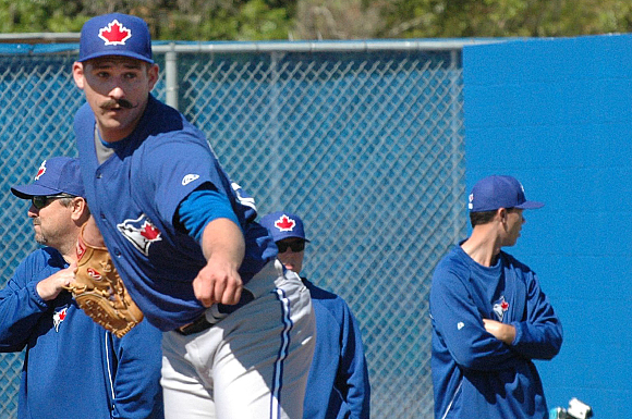 Blue Jays pitching prospect Griffin Murphy and his moustache stand out at the Bobby Mattick Training Center in Dunedin, Florida.