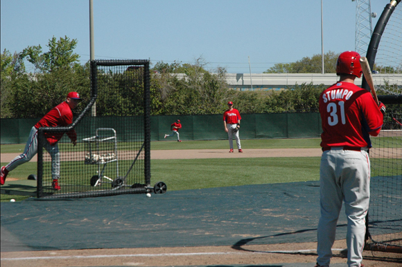 Philadelphia Phillies prospects work out at the Paul Owens Training Facility in Clearwater, Florida Wednesday.