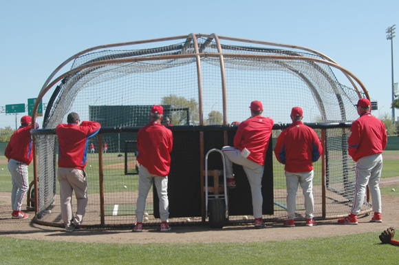 Philadelphia Phillies coaches look on during workouts at the Paul Owens Training Facility in Clearwater, Florida Wednesday.