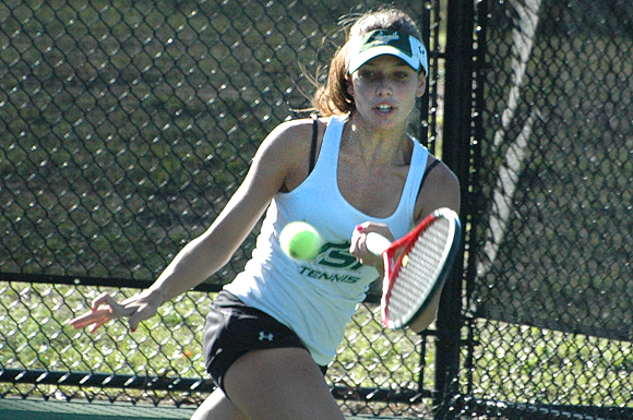 USF's Alessandra Bonte lost both her matches in NCAA tennis action Wednesday in Tampa, Florida.