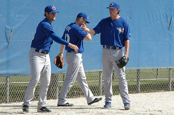 Pitcher Deck McGuire (right) was selected 11th overall by the Toronto Blue Jays in the 2010 MLB June Amateur Draft.