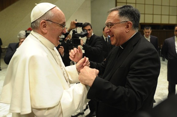 Fr. Thomas Rosica (right) C.S.B., meeting Pope Francis at the end of the Audience for the 6000+ journalists covering the events in Rome, Saturday March 16, 2013.
