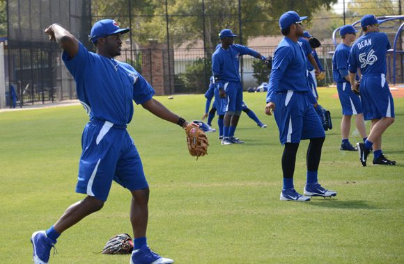 Dwight Smith Jr. (L) is trying to break into the Toronto Blue Jays organization as an outfielder.