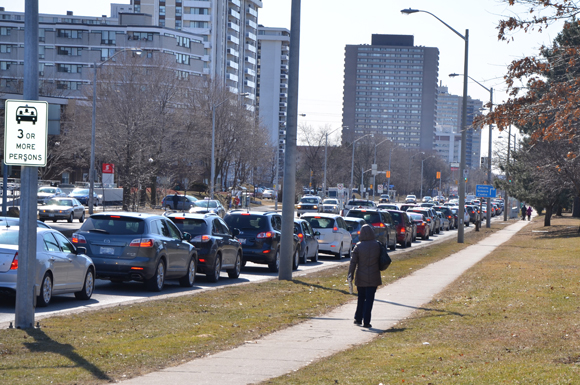 Traffic backs up outside the parking lot of the Ontario Science Centre.