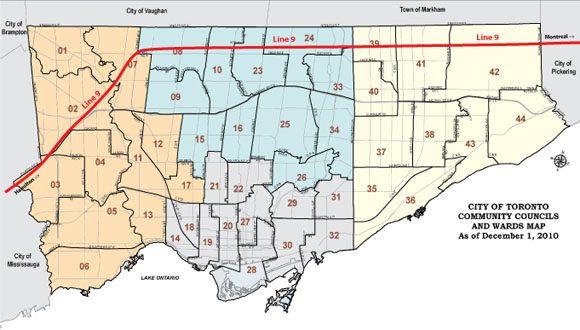 A map shows where Line 9 travels through Toronto.