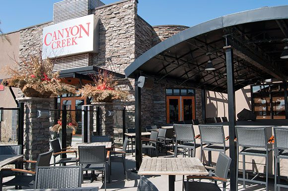 Canyon Creek at Scarborough Town Centre is perfect for bathing in the sun while dining.