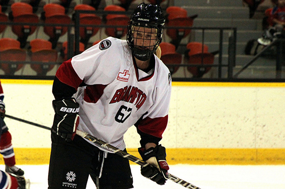 Bailey Bram in action with the Brampton Thunder of the Canadian Women's Hockey League.