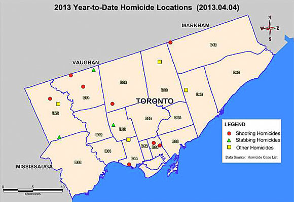 Of the 15 murders in Toronto this year up to March 31, three have occurred within Scarborough, according to the Toronto Police Service.