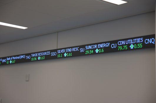 UTSC's stock ticker providing real-time updates
