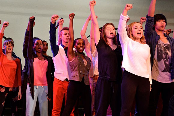 The Gleeks rehearse for the Canadian national show choir competition at Wexford Collegiate School for the Arts.