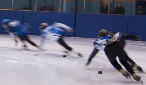Toronto Speed Skating Club members warm up at Commander Park Arena in Scarborough