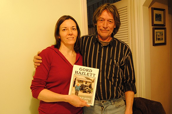 Jennifer and Randy Hazlett, children of the late Gord Hazlett, with one of their father's books.