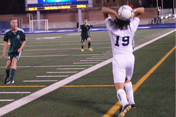 Defender Fotis Tsafaridis throws a ball in Wednesday night at Varsity Stadium. Ryan Horne/Toronto Observer