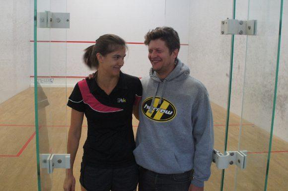 Sam Cornett and Jonathon Power ham it up at the National Squash Academy in Toronto. (Curtis Ng/Toronto Observer)