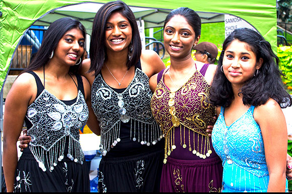 Cousins Thusitha Suriyakumar, Rochelle Joseph, Michelle Joseph and Abbena Ramesh performed contemporary South Asian dance at the Toronto Mela Festival on Sept. 7