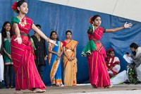 Rumainaisa Rahman, left, and Intisaar Najmeen perform a Bengali dance at the Toronto Mela Festival 2013.