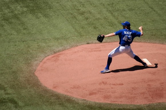 Jays pitcher R.A. Dickey pitched well but did not get a decision on Wednesday night. (Jessica Matteazzi/Flickr)