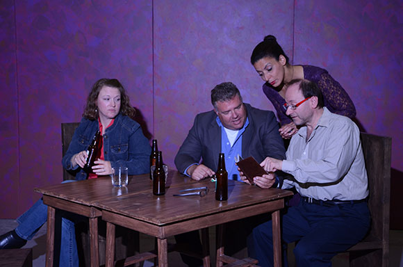 Norm Foster's Looking follows a comedic hunt for love, where a nurse, an entrepreneur, a talk show host and a police officer find themselves at a pub. The four characters are played by (from left) Meg Gibson,  Steve Switzman, Erin Jones and Daryl Marks. The play runs at Theatre Scarborough until Sept. 28.