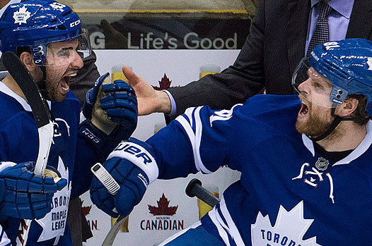 "Leafs"" Nazem Kadri and Phil Kessel celebrate on the bench Nathan Denette/Canadian Press"