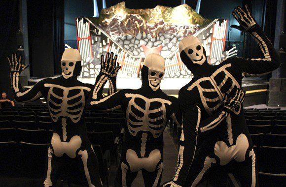 Phil Barbaro, Hugues Aubry and Joel Norton participate in the acrobatic show Skeleton Crew during Halloween Haunt at Canada's Wonderland.