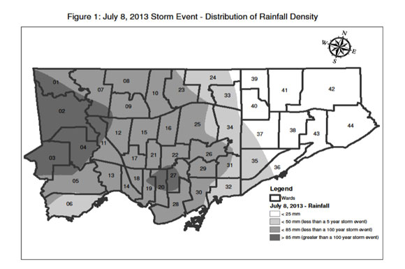 The July 8 rainstorm — the most expensive in the province's history — pounded the western half of Toronto more than it did eastern parts, including Scarborough.