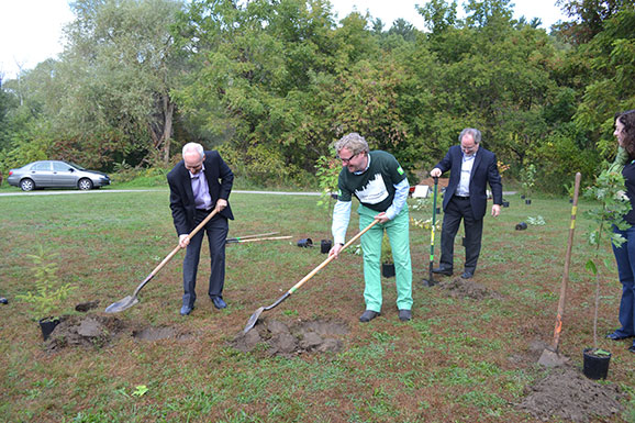 Principal Franco Vaccarino (Left), TD Senior Vice President Alec Morley (Centre) and Vice President, Advancement David Palmer (right) start the celebratory tree planting.