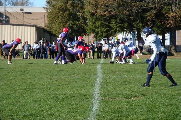 Laurier's offence lines up on its way to a comeback win over Mcdonald. Photo: Chris Perrotte