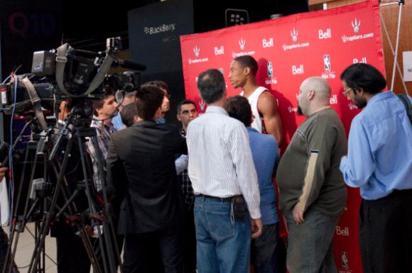 Raptors shooting guard DeMar DeRozan faces the media at the ACC. (Kinnon Yee/RaptorsHQ)