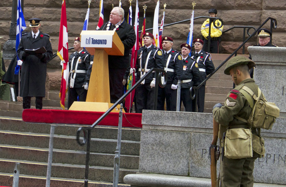Toronto Mayor Rob Ford pays tribute to Canada's war veterans.
