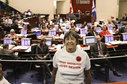 Toronto residents hoping to see Mayor Rob dethroned on Thursday were out in force in the public gallery at City Hall.