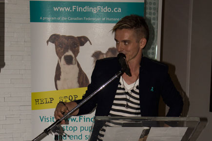Mark Spicoluk not only appeared in the Finding Fido PSA, but he also acted as the emcee for the launch event on Oct. 23.
